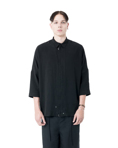 Baz Zip Up Woven Shirt - Black