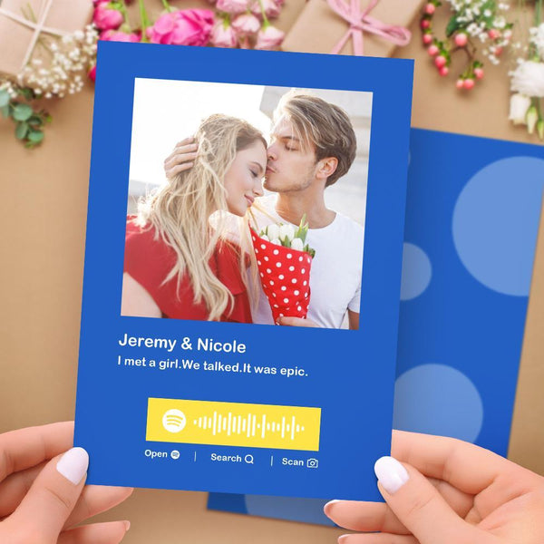 Custom Spotify Code Music Greeting Card Multiple Colors Cards Custom Photo & Text Card for Anniversary for Couples Upload Your Photo