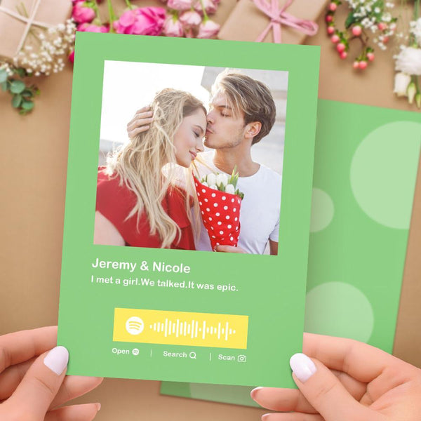 Custom Spotify Code Music Greeting Card Multiple Colors Cards Custom Photo & Text Card for Anniversary for Couples Grassy