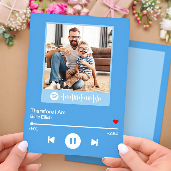 Custom Spotify Code Music Greeting Card with Your Photo Custom Album Photo Card for Birthday for Family