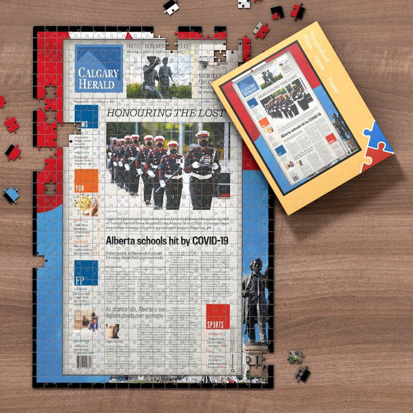 Calgary Herald Front Page Jigsaw Puzzle, Personalized From A Specific Date You Were Born Your Memorial Day, Birthday Gift Idea-1000 Pieces Max