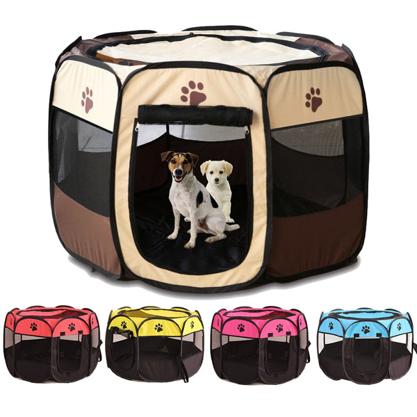 Portable Foldable Playpen Pet Dog Crate Room Puppy Exercise Kennel Cat Cage Water Resistant Outdoor Removable Mesh Shade Cover