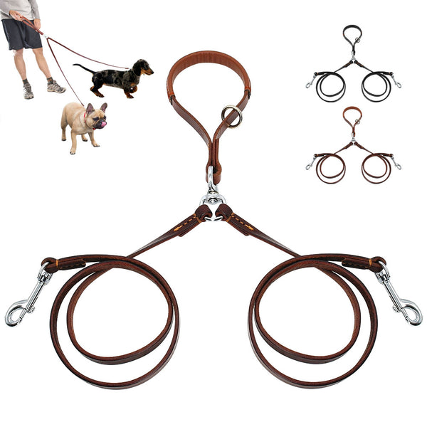 Double Two Pet Leather Leads