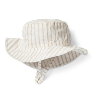 BUCKET HAT - white and beige