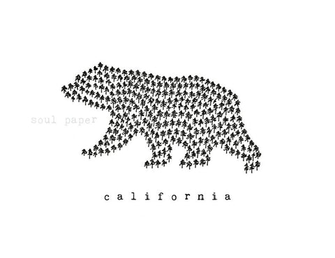 California Bear Trees Wall Art Print