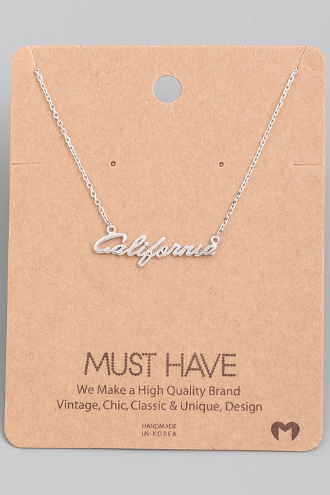 California Tiny Handwritten Necklace