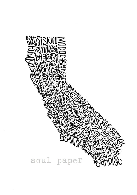 California Counties Wall Typography Art Print