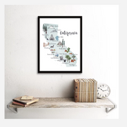 California Landmarks Picture Map Art Print