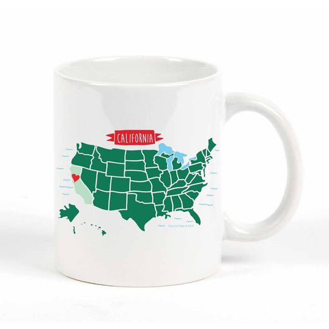 California Map Heart Mug