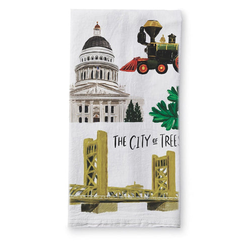 Sacramento City of Trees Tea Towel