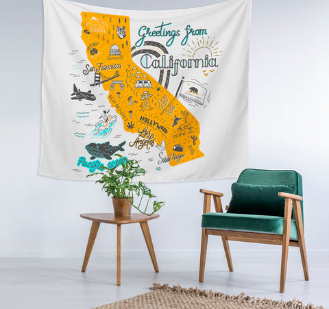 Greetings from California Map Tapestry