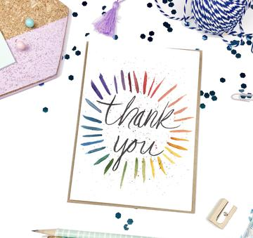 Thank You Rainbow Burst Greeting Card