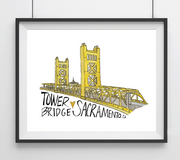Tower Bridge Sacramento California Art Print