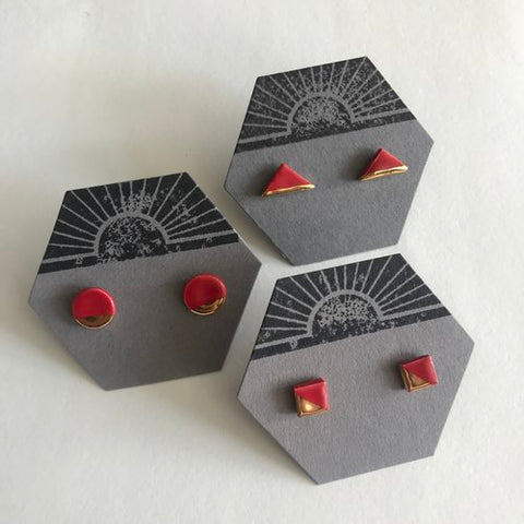 Surya - Triangle Ceramic Stud Earrings