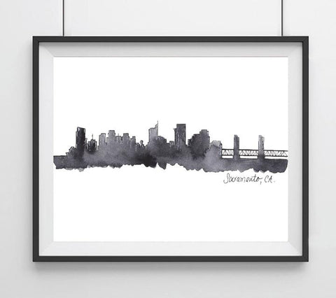 Sacramento City Skyline Art Print