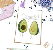 Congrats Avocado with Seed Baby Greeting Card