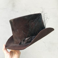 Load image into Gallery viewer, Move/Dark Brown Top Hat (thin feather) - OBEIOBEI