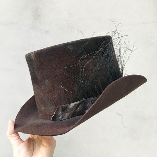 Move/Dark Brown Top Hat (thin feather) - OBEIOBEI