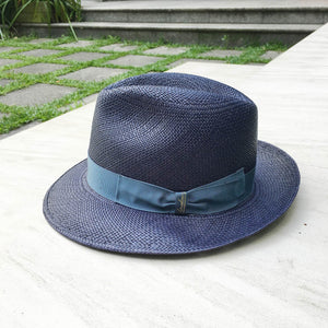 Borsalino/Medium brim Panama hat-Blue - OBEIOBEI