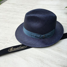 Load image into Gallery viewer, Borsalino/Medium brim Panama hat-Blue - OBEIOBEI