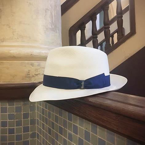Borsalino/Classic medium brim Panama hat-Blue ribbon - OBEIOBEI