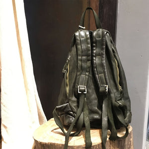 Delle Cose/Military Green leather backpack - OBEIOBEI