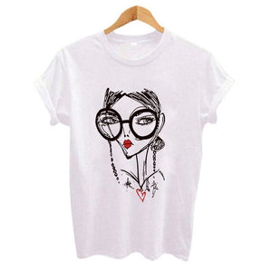 Hipster Cool Girl Print Women t shirt 2018 Summer Short sleeve O Neck Harajuku t-shirt Casual Plus size Women's clothing