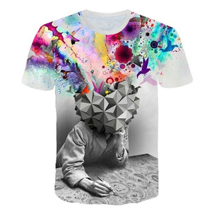 Funny 3D Tshirt Men Simulation Pattern Short Sleeve Summer Casual Round Neck Tops Colorful T-Shirt Streetwear Male Clothing
