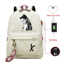Load image into Gallery viewer, Ariana Grande Thank U Next Mochila Shoulder Backpack Girls Usb Cable Women School Bag Travel Teenager Backpack Daily Baypack