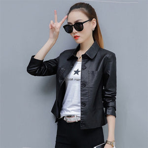Leather Jacket Women Caramel 3XL 4XL Plus Size Short Slim PU Coat 2019 New Spring Autumn Korean Fashion Chic Moto Clothing LD855
