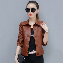 Load image into Gallery viewer, Leather Jacket Women Caramel 3XL 4XL Plus Size Short Slim PU Coat 2019 New Spring Autumn Korean Fashion Chic Moto Clothing LD855