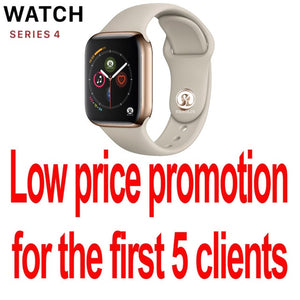 50%off Smart Watch Series 4 SmartWatch case for apple 5 6 7 iPhone Android Smart phone heart rate monitor pedometor (Red Button)