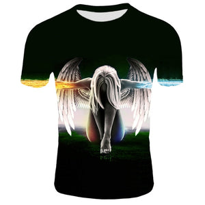 3d Angel T shirt Men Women Summer Cool Short Sleeve Harajuku Men Clothing Hip Hop Tops Tees Dark Angel Print T-shirt 2XS-4XL