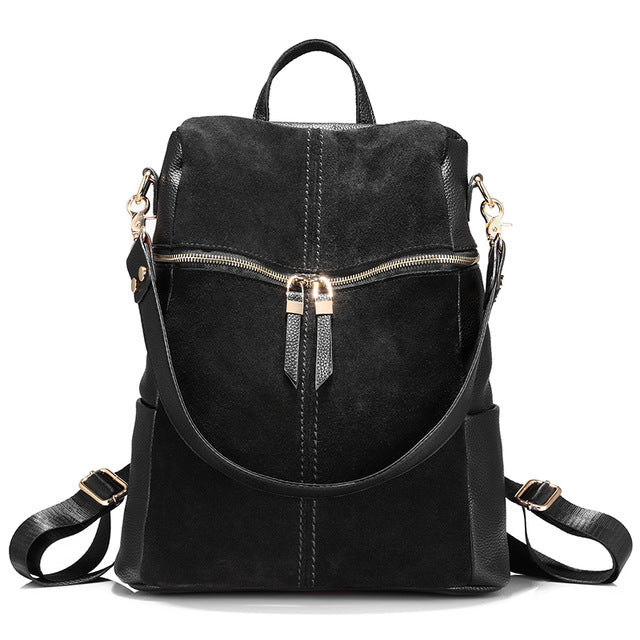 Vintage brand women backpack nubuck leather PU school backpacks for teenage girls large capacity shoulder bags for women 2019