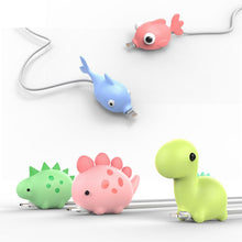 Load image into Gallery viewer, Cute Cartoons Animal Bite Cable Data Protector fish dinosaur dog Shaper cable Winder Organizer iPhone iPad Data Line Protection