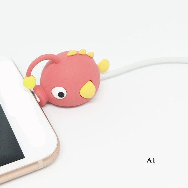 Cute Cartoons Animal Bite Cable Data Protector fish dinosaur dog Shaper cable Winder Organizer iPhone iPad Data Line Protection