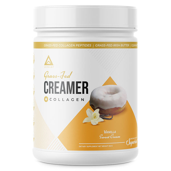 Levelup keto coffee creamer with collagen in vanilla flavor