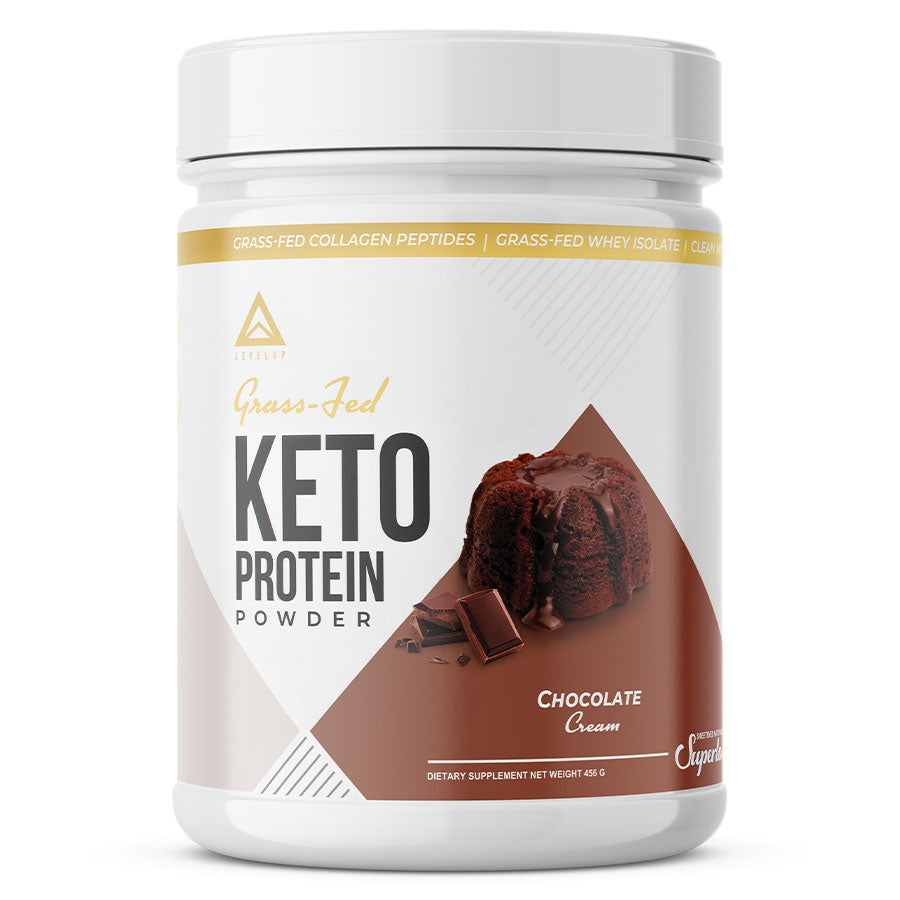 Levelup keto protein powder in chocolate cream flavor
