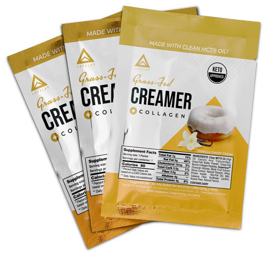 3 trial pack of Levelup's keto creamer with collagen in vanilla flavor