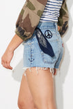 peaceful denim cutoffs  * up cycled one of a kind