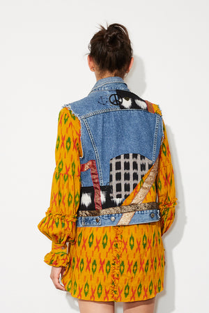 peaceful denim vest  *saffron mix * up cycled one of a kind