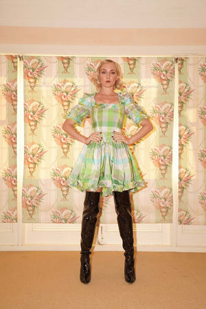 frolic waisted mini ** limited , made from vintage 1940's remnant check taffeta **