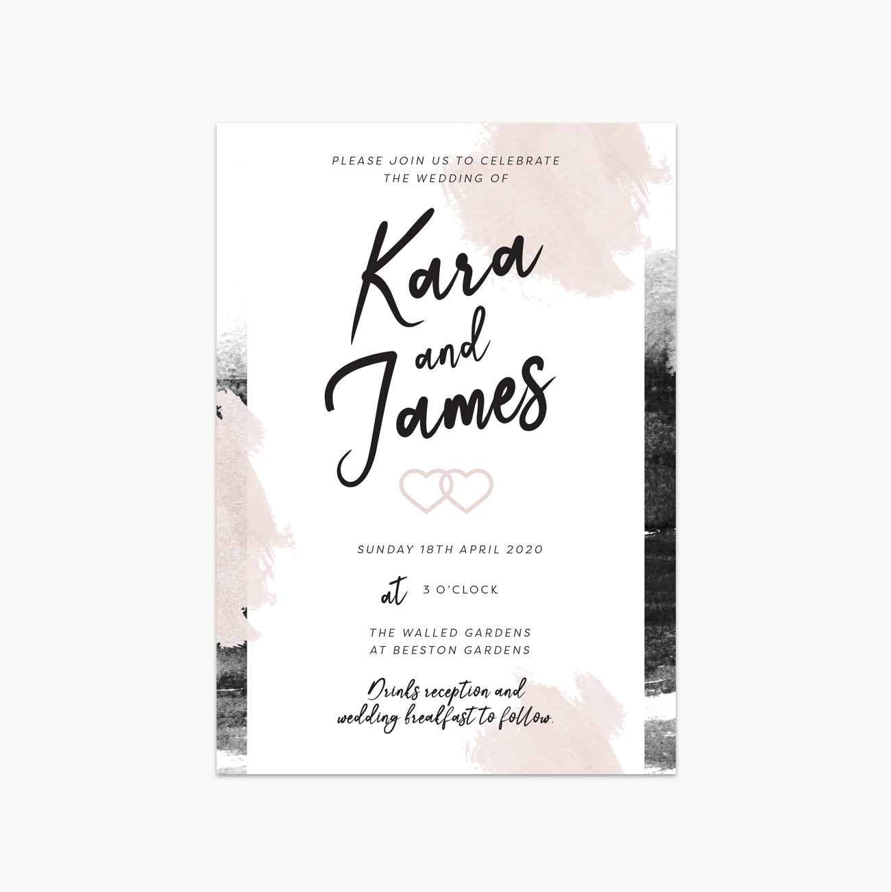 Grey and Blush Wedding Invitation Set