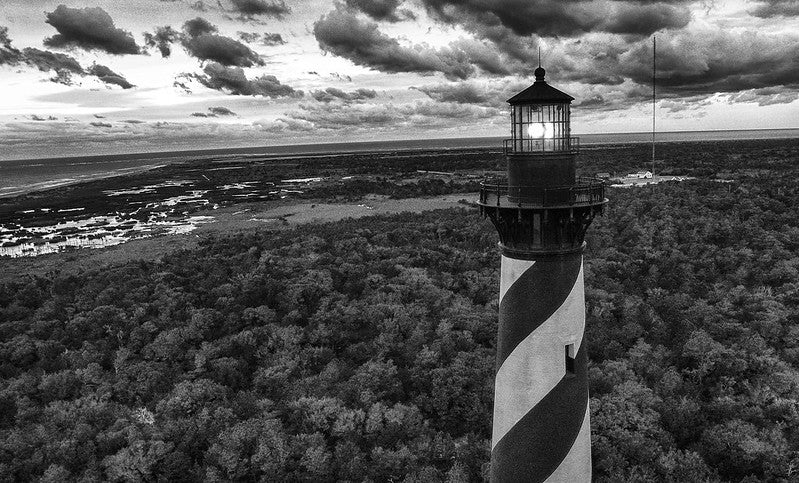Black White Photo Cape Hatteras Lighthouse in Buxton, NC
