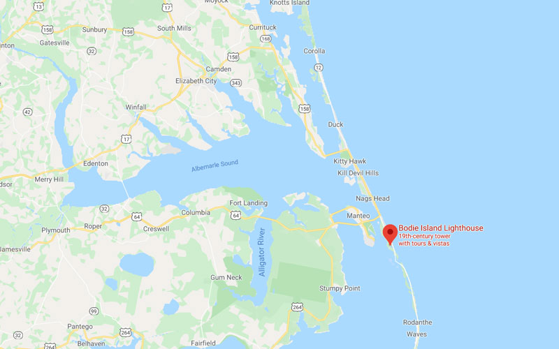 Location of Bodie Island Lighthouse on the Outer Banks of NC
