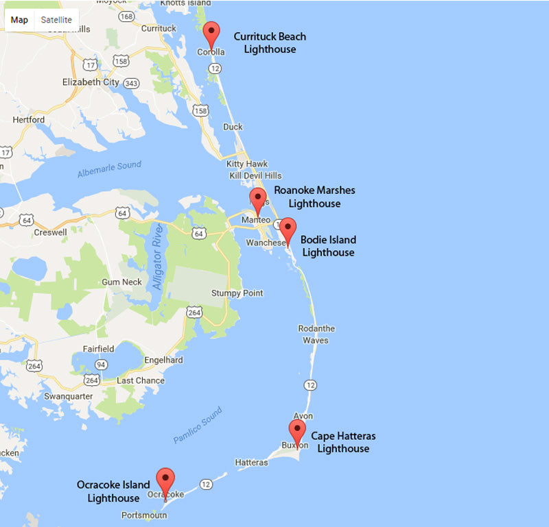 Map of Outer Banks of North Carolina Lighthouses