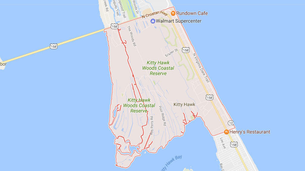 Map of Where Kitty Hawk NC is Located