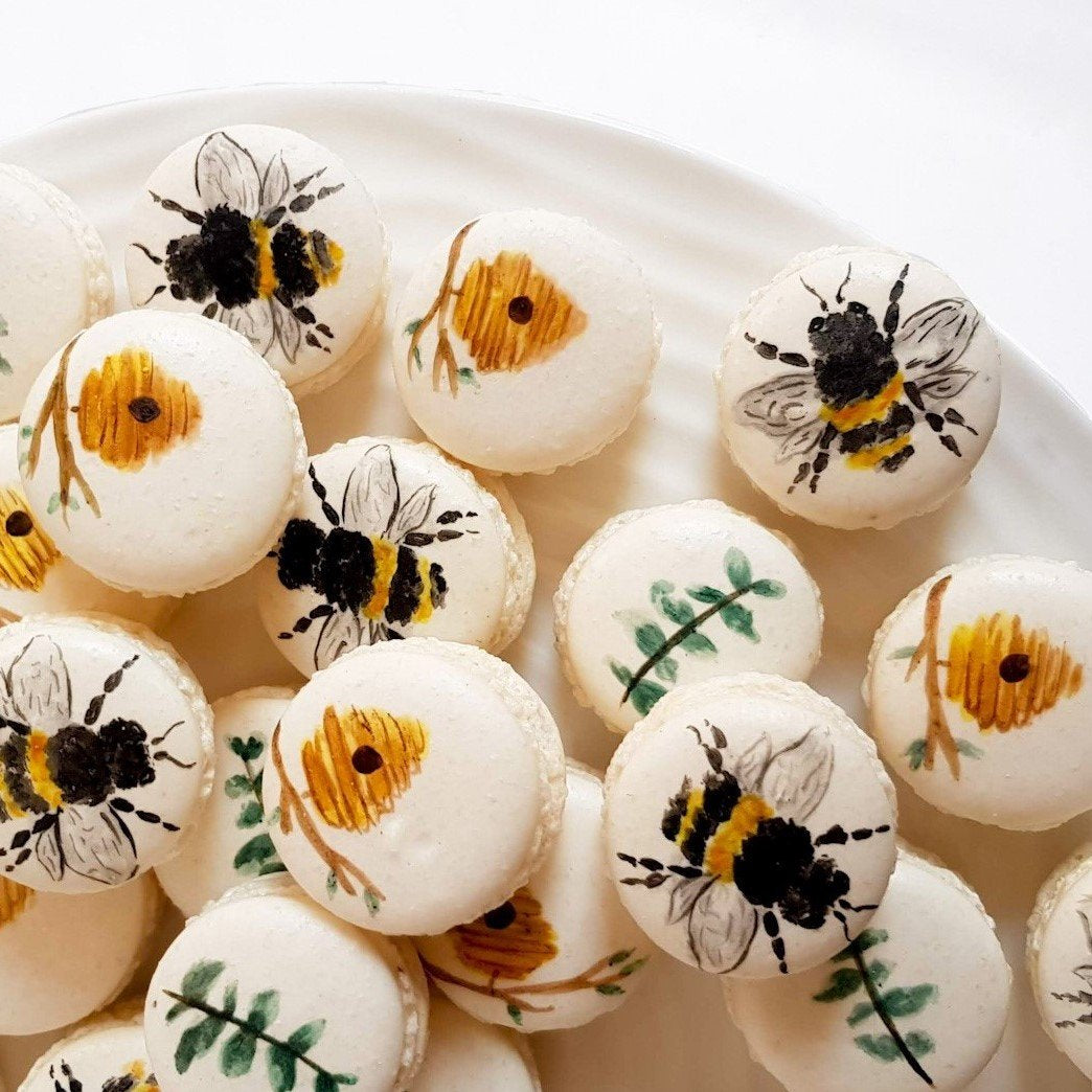 Bee macarons, hive, honey