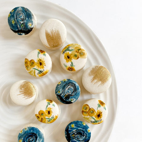 Vincent Van Gogh Starry Nights, Sunflower macarons