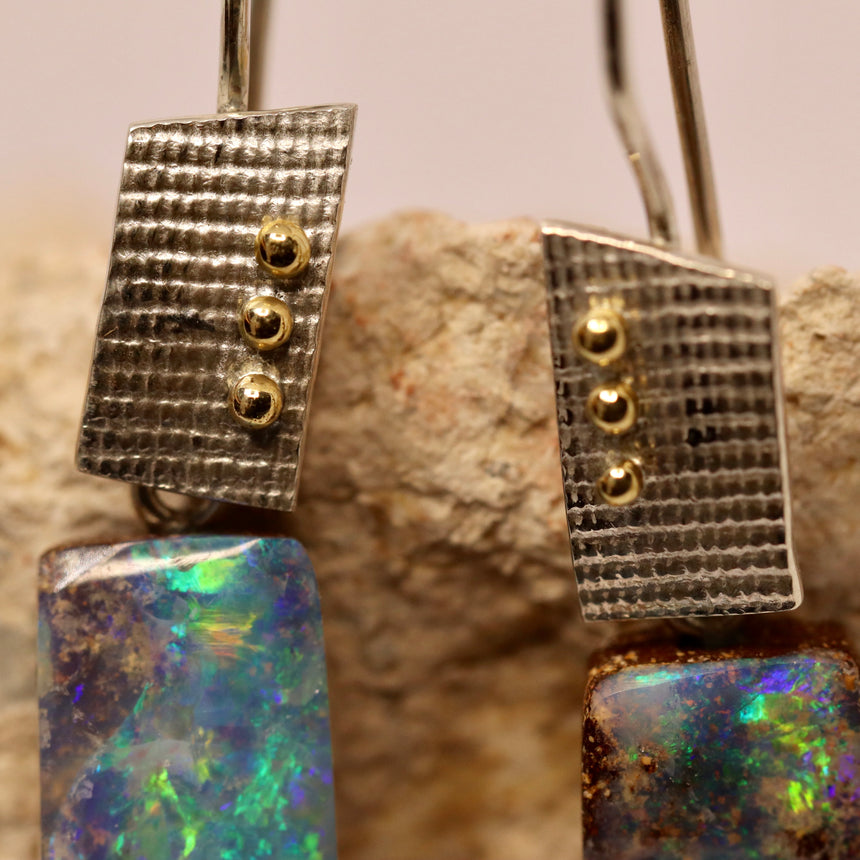 Boulder opal, palladium silver & gold earrings